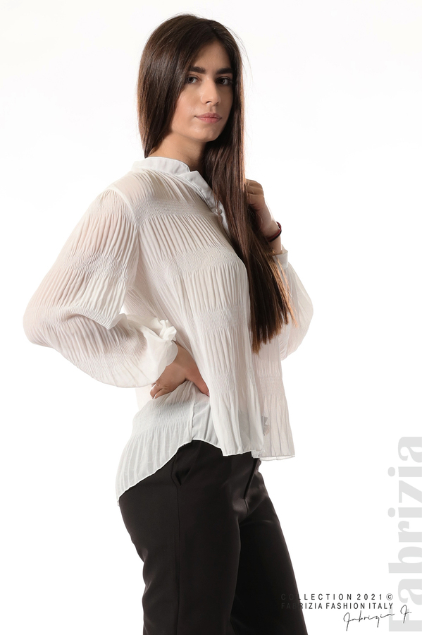Ефирна блуза със свободен силует бял 5 fabrizia