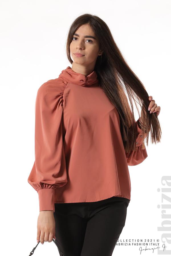 Елегантна блуза с висока яка и широки ръкави корал 2 fabrizia