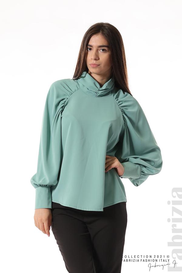 Елегантна блуза с висока яка и широки ръкави бл.зелен 1 fabrizia