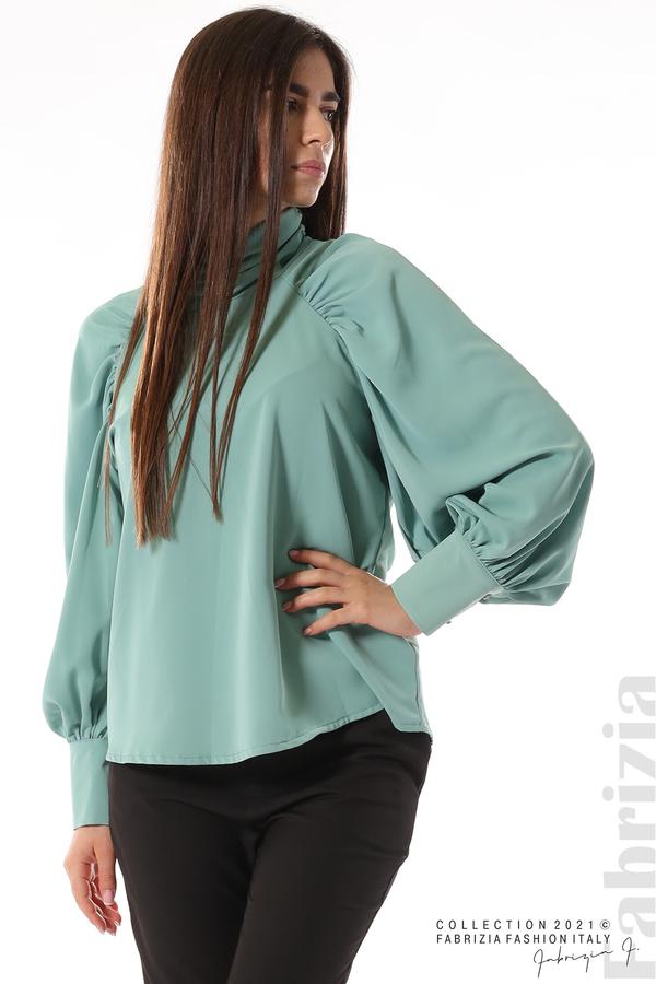 Елегантна блуза с висока яка и широки ръкави бл.зелен 4 fabrizia