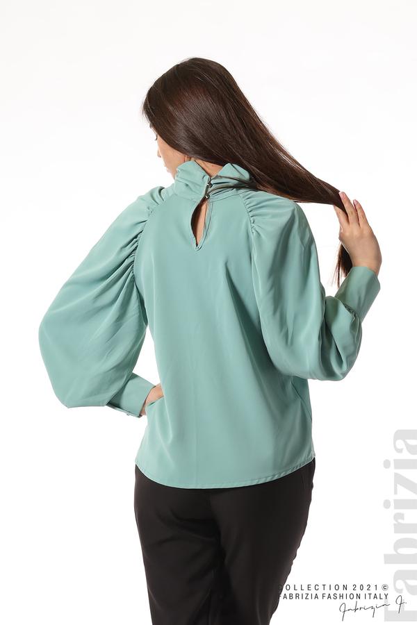Елегантна блуза с висока яка и широки ръкави бл.зелен 6 fabrizia