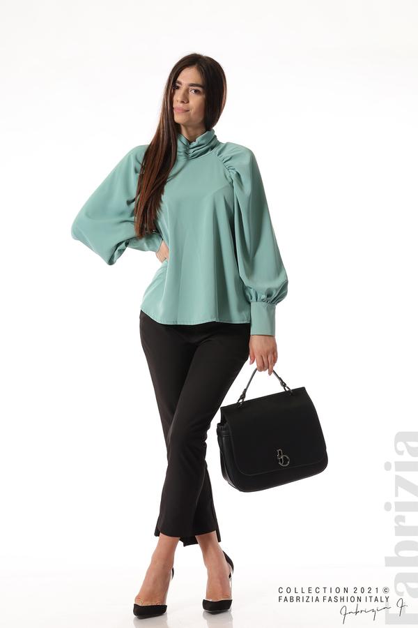 Елегантна блуза с висока яка и широки ръкави бл.зелен 2 fabrizia