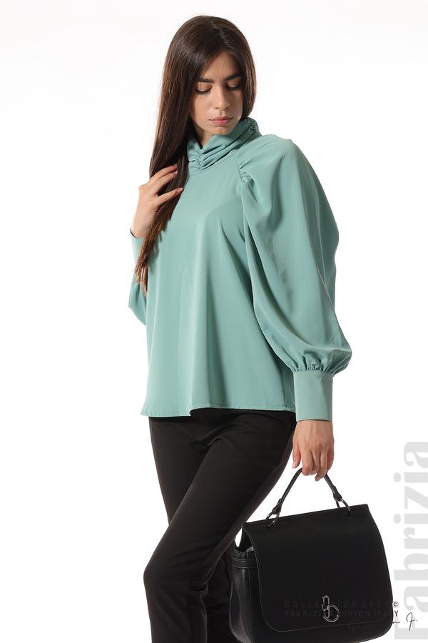 Елегантна блуза с висока яка и широки ръкави бл.зелен 3 fabrizia