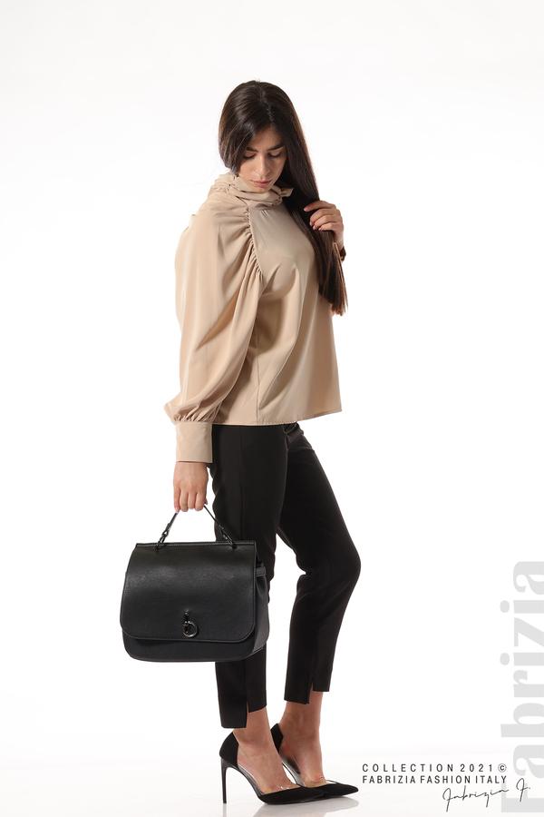 Елегантна блуза с висока яка и широки ръкави бежов 3 fabrizia
