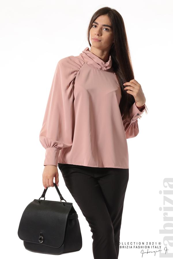 Елегантна блуза с висока яка и широки ръкави пепел от рози 4 fabrizia