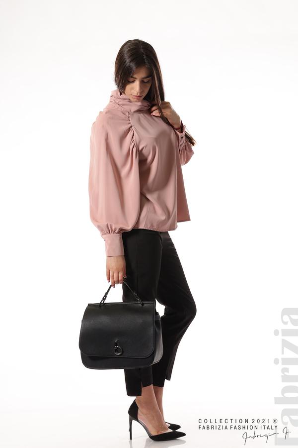 Елегантна блуза с висока яка и широки ръкави пепел от рози 1 fabrizia