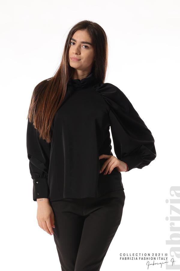 Елегантна блуза с висока яка и широки ръкави черен 1 fabrizia