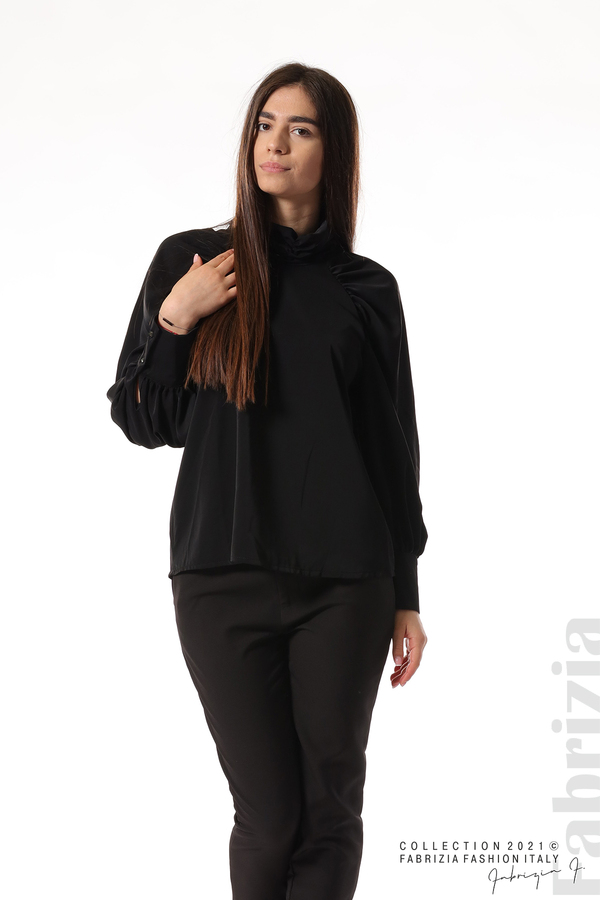 Елегантна блуза с висока яка и широки ръкави черен 3 fabrizia