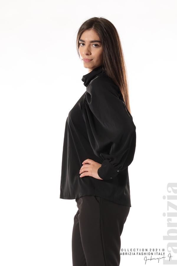 Елегантна блуза с висока яка и широки ръкави черен 4 fabrizia
