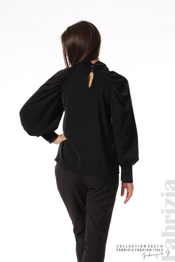 Елегантна блуза с висока яка и широки ръкави черен 6 fabrizia
