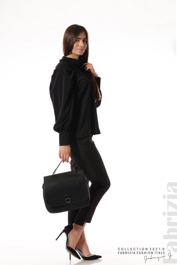 Елегантна блуза с висока яка и широки ръкави черен 5 fabrizia