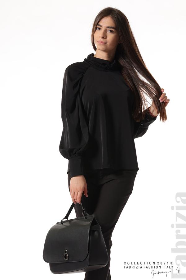 Елегантна блуза с висока яка и широки ръкави черен 2 fabrizia