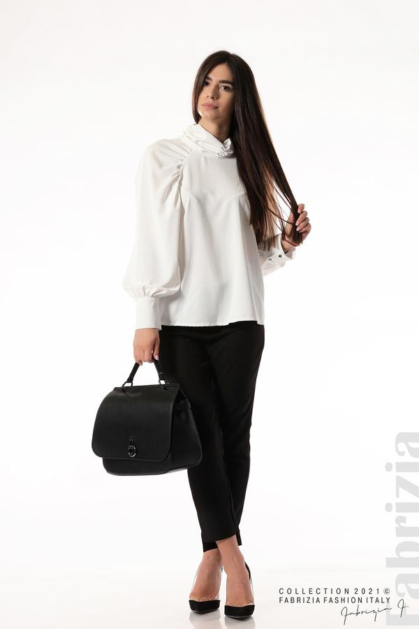 Елегантна блуза с висока яка и широки ръкави бял 4 fabrizia