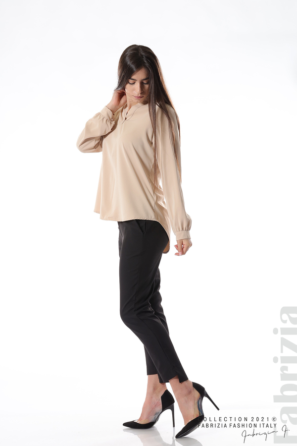 Елегантна блуза с ефектен гръб бежов 3 fabrizia