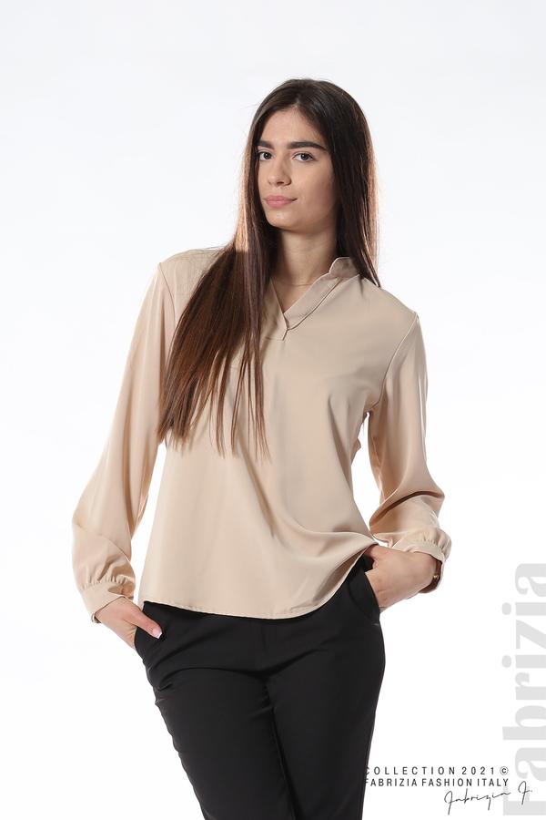 Елегантна блуза с ефектен гръб бежов 1 fabrizia