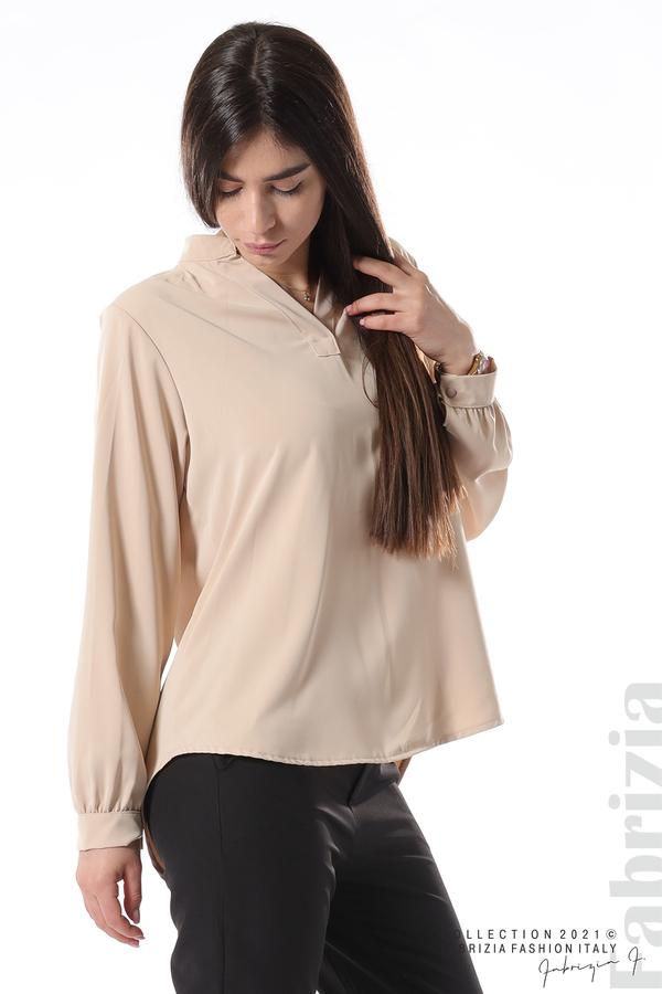 Елегантна блуза с ефектен гръб бежов 2 fabrizia