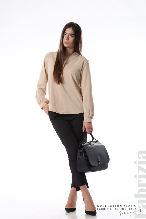 Елегантна блуза с ефектен гръб бежов 5 fabrizia