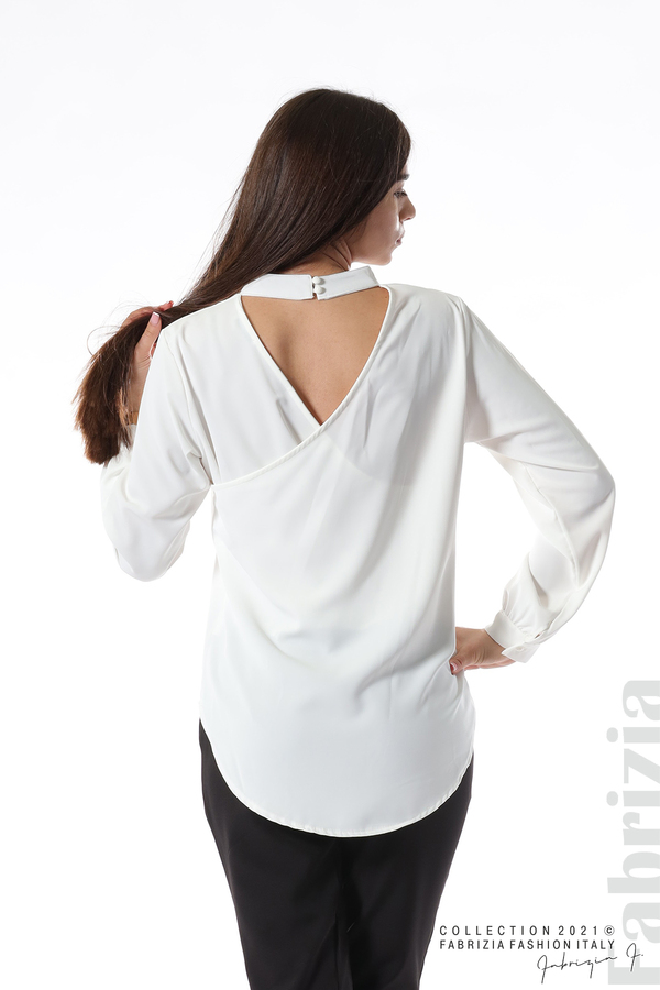 Елегантна блуза с ефектен гръб бял 6 fabrizia