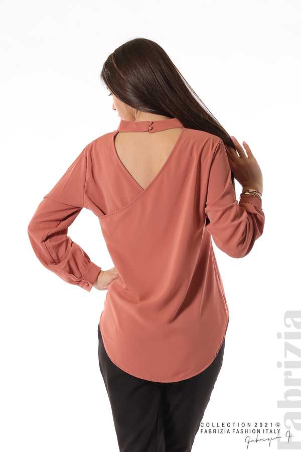 Елегантна блуза с ефектен гръб корал 6 fabrizia