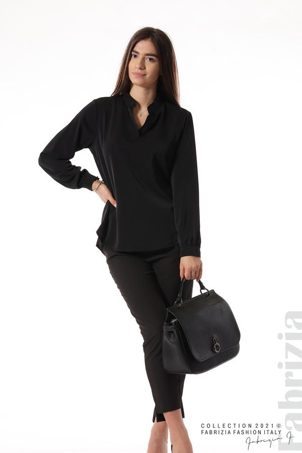 Елегантна блуза с ефектен гръб черен 2 fabrizia