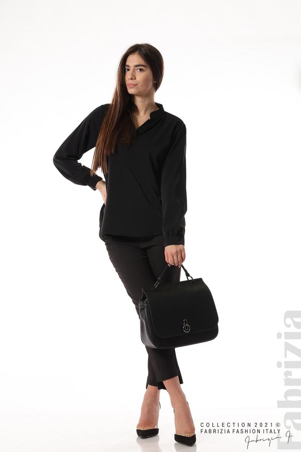 Елегантна блуза с ефектен гръб черен 3 fabrizia