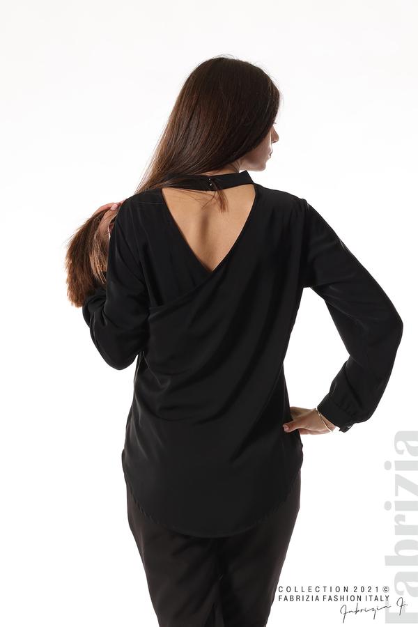 Елегантна блуза с ефектен гръб черен 8 fabrizia