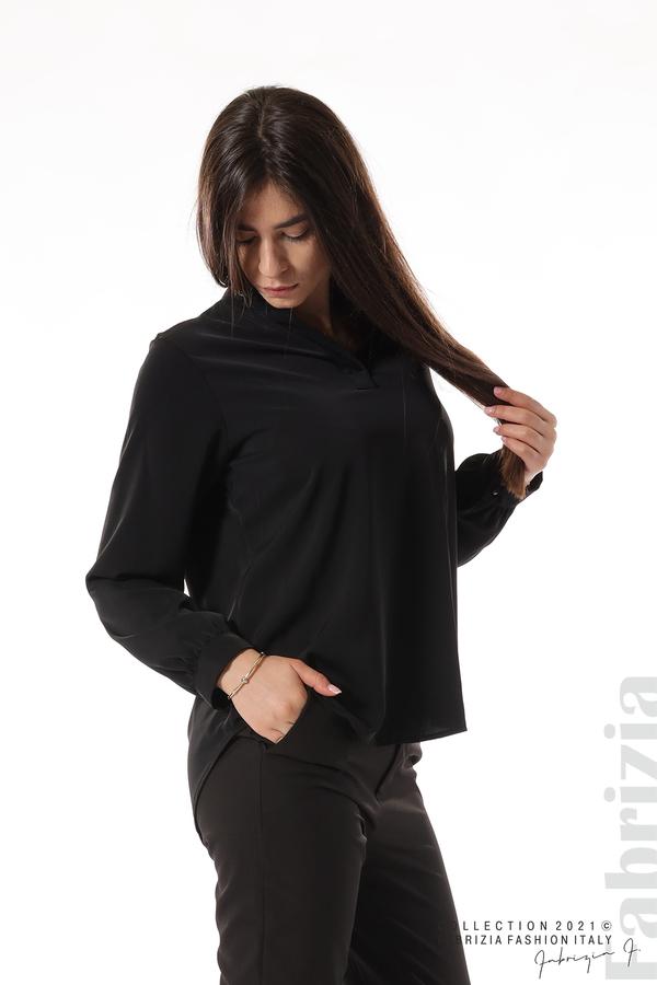 Елегантна блуза с ефектен гръб черен 1 fabrizia