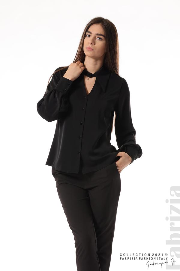 Свободна риза с оригинална яка черен 1 fabrizia