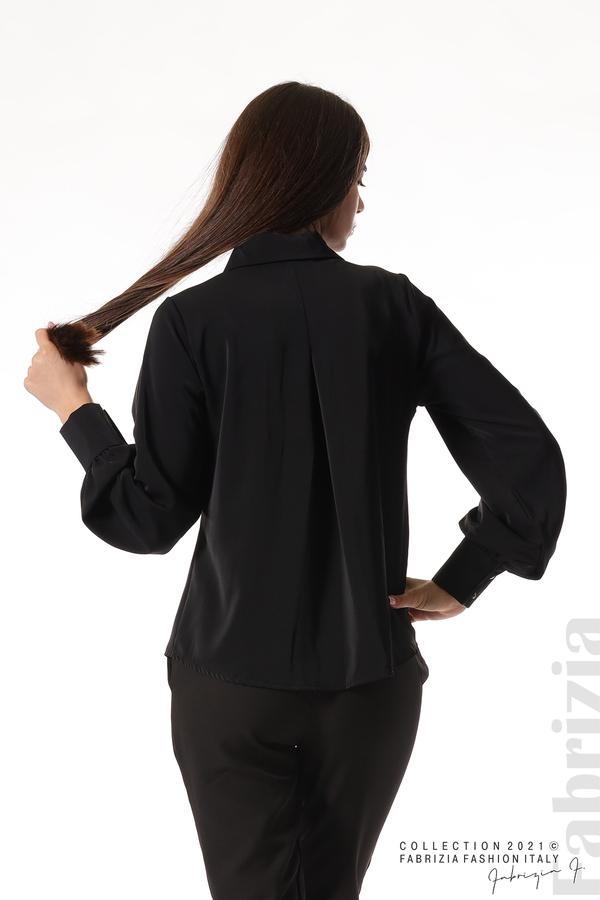 Свободна риза с оригинална яка черен 6 fabrizia