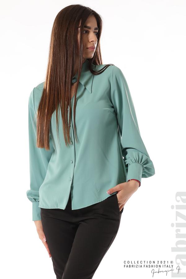 Свободна риза с оригинална яка бл.зелен 1 fabrizia