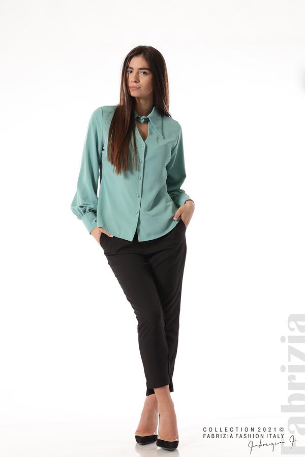 Свободна риза с оригинална яка бл.зелен 4 fabrizia