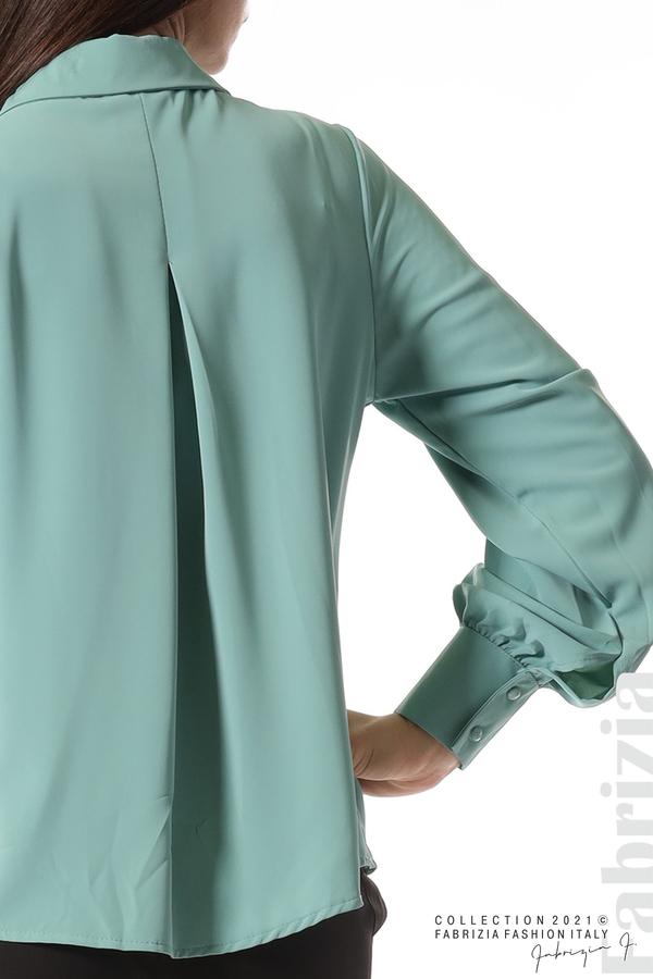 Свободна риза с оригинална яка бл.зелен 3 fabrizia