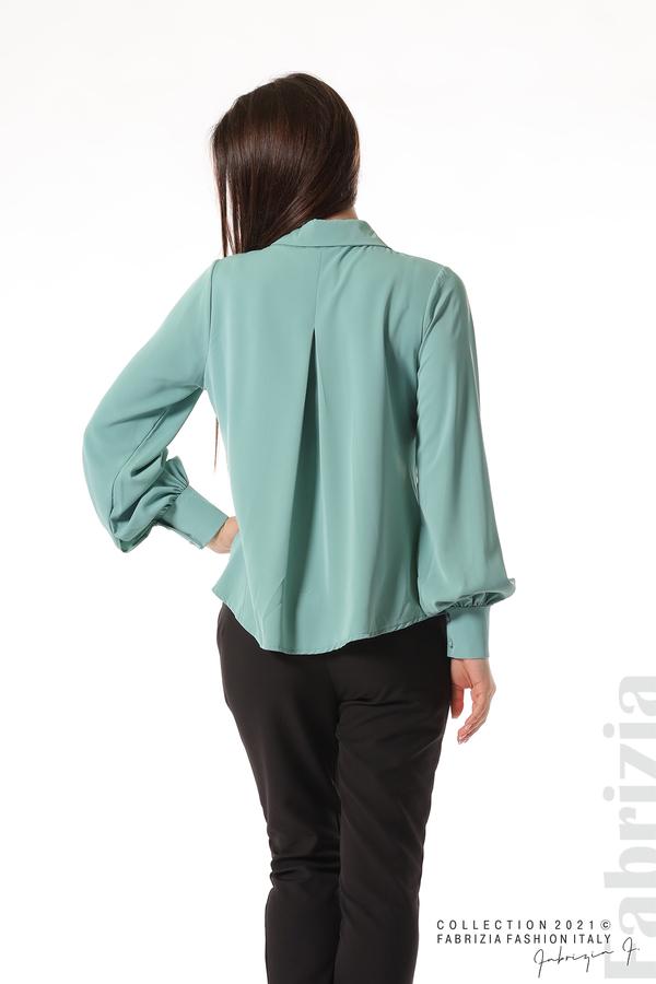 Свободна риза с оригинална яка бл.зелен 6 fabrizia