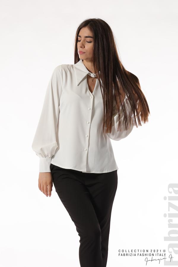 Свободна риза с оригинална яка бял 4 fabrizia