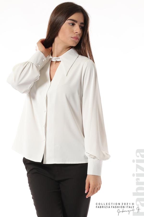 Свободна риза с оригинална яка бял 3 fabrizia