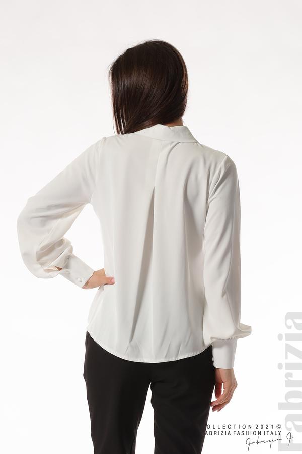 Свободна риза с оригинална яка бял 6 fabrizia