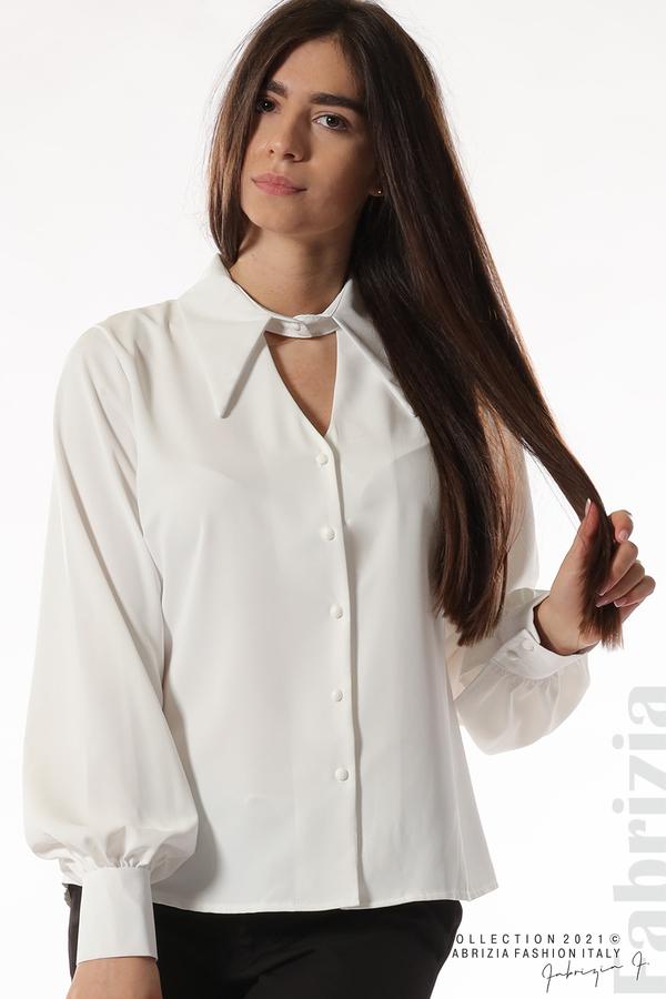 Свободна риза с оригинална яка бял 2 fabrizia