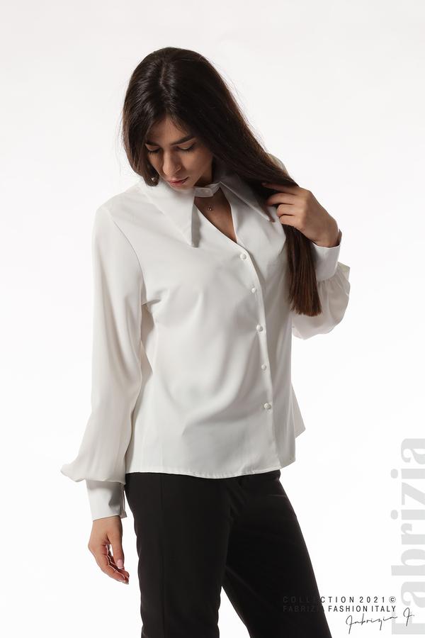 Свободна риза с оригинална яка бял 1 fabrizia