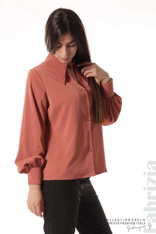 Свободна риза с оригинална яка корал 3 fabrizia