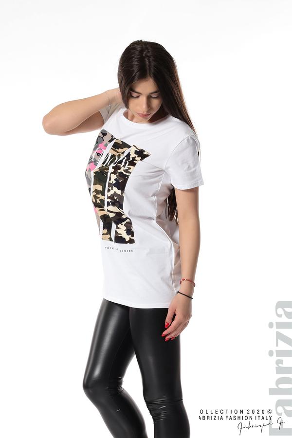 Блуза с камуфлаж и надпис Amour бял 2 fabrizia