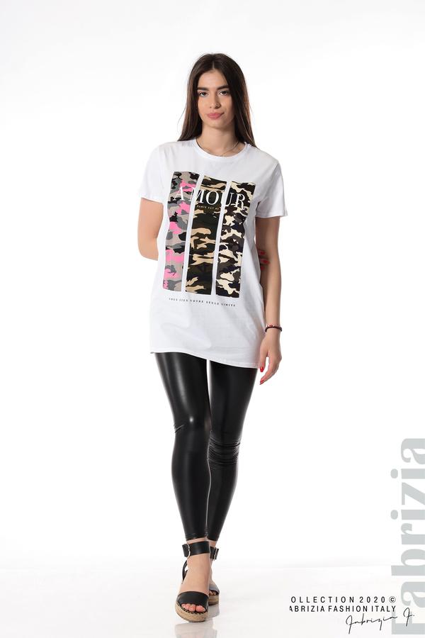 Блуза с камуфлаж и надпис Amour бял 3 fabrizia
