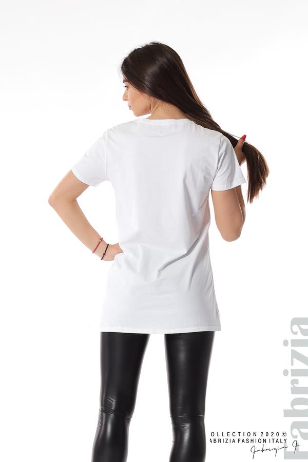 Блуза с камуфлаж и надпис Amour бял 5 fabrizia