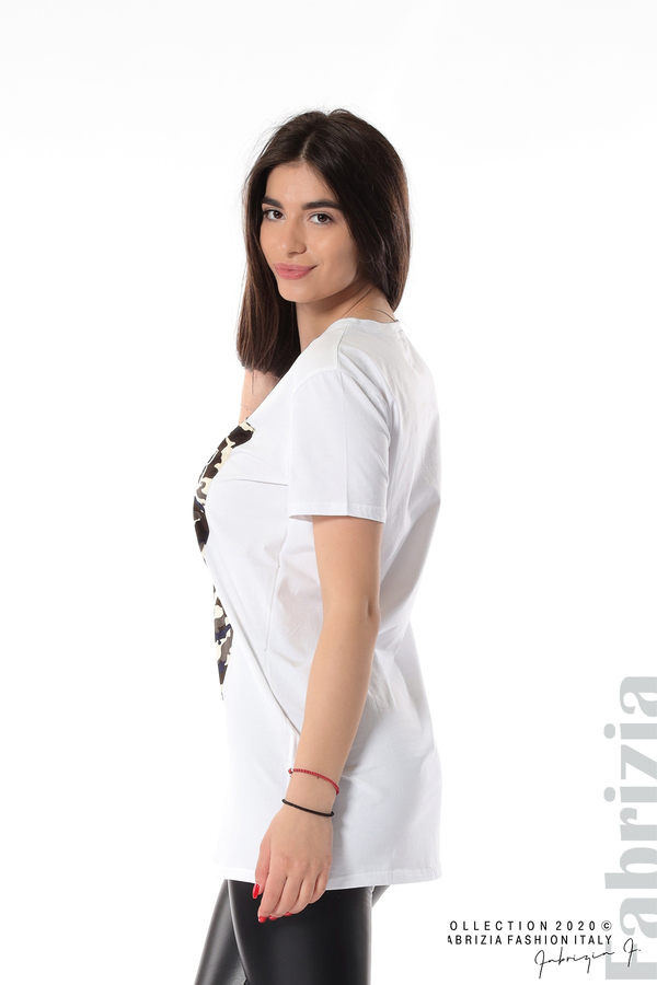 Блуза с камуфлаж и надпис Amour бял 4 fabrizia