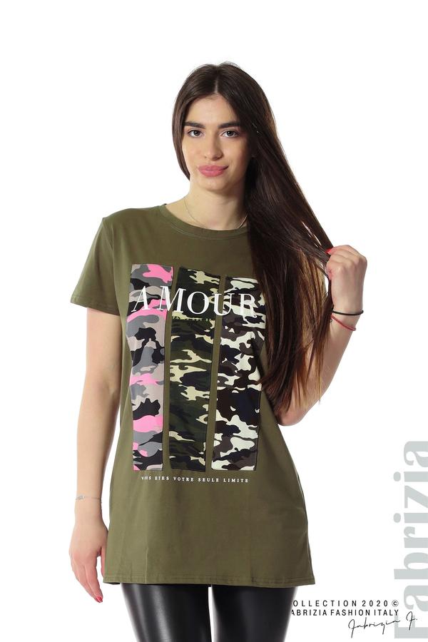 Блуза с камуфлаж и надпис Amour каки 1 fabrizia