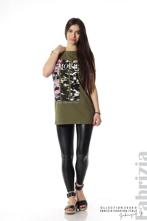 Блуза с камуфлаж и надпис Amour каки 3 fabrizia
