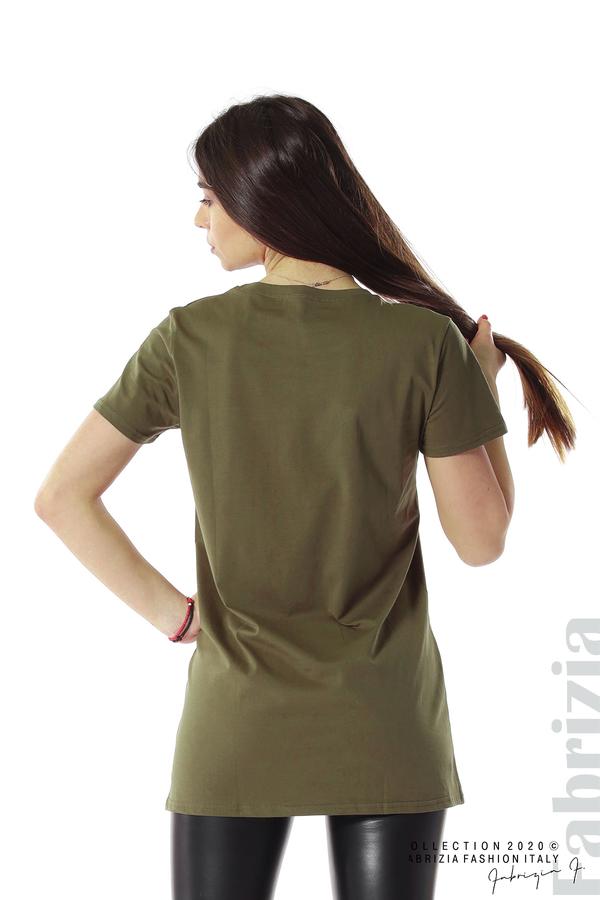 Блуза с камуфлаж и надпис Amour каки 5 fabrizia