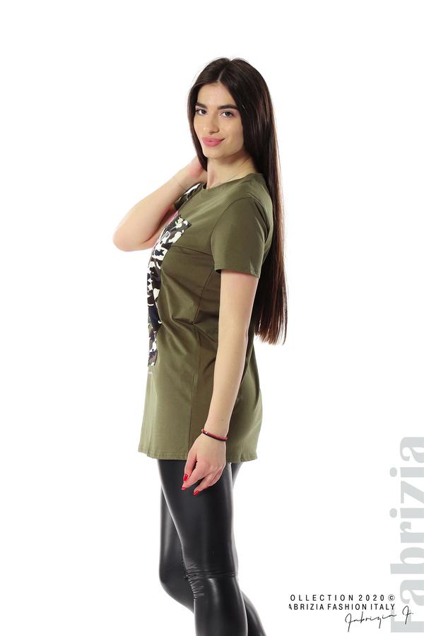 Блуза с камуфлаж и надпис Amour каки 2 fabrizia