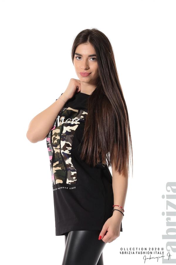 Блуза с камуфлаж и надпис Amour черен 1 fabrizia