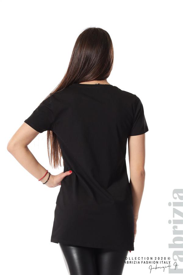 Блуза с камуфлаж и надпис Amour черен 5 fabrizia