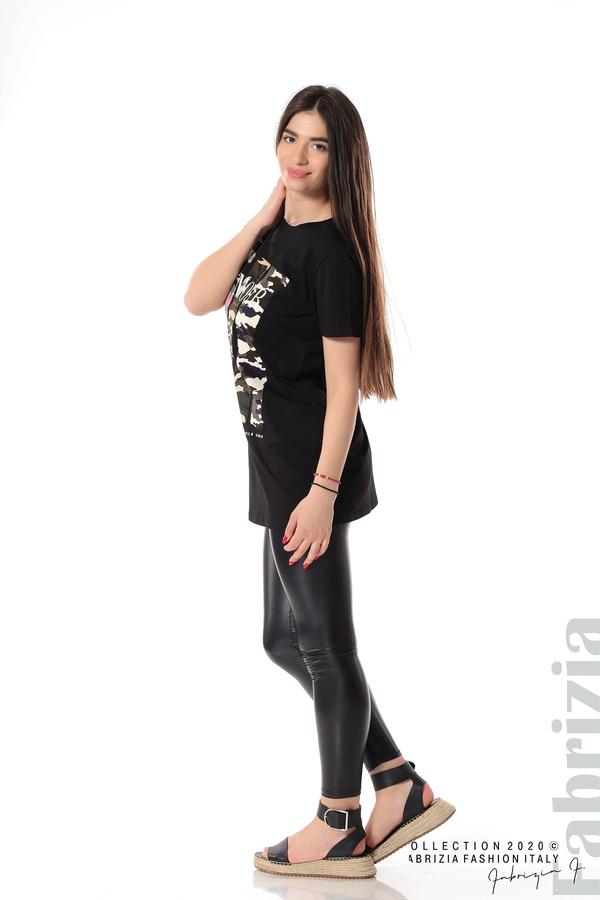 Блуза с камуфлаж и надпис Amour черен 4 fabrizia